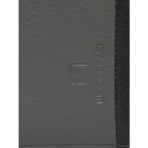 Woodland Men Charcoal Grey Solid Leather Two Fold Wallet