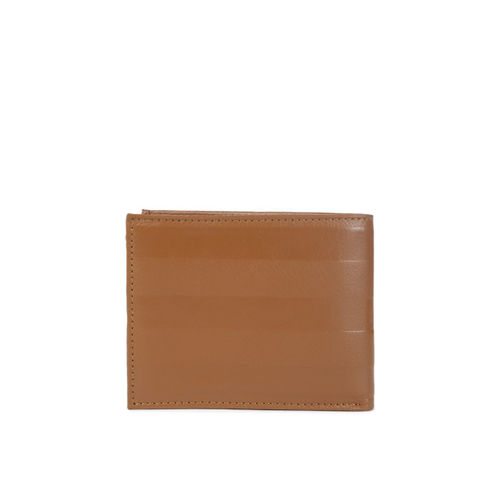 Tommy Hilfiger Men Tan Solid Genuine Leather Two Fold Wallet