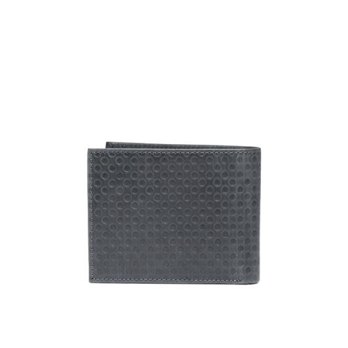 Tommy Hilfiger Men Grey Textured Two Fold Leather Wallet
