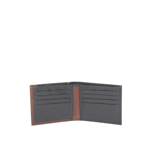 Woodland Men Navy Blue & Brown Colourblocked Leather Two Fold Wallet