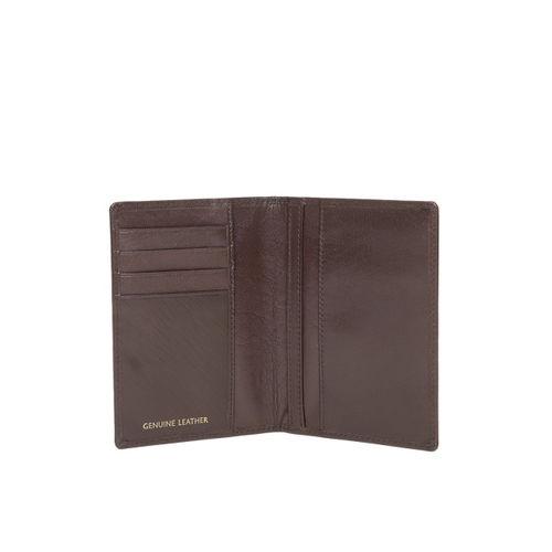 Woodland Men Coffee Brown Solid Leather Passport Holder