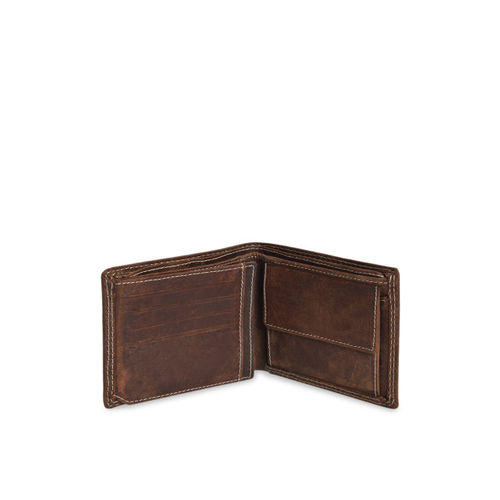 Peseta Men Brown Solid Two Fold Genuine Leather Wallet