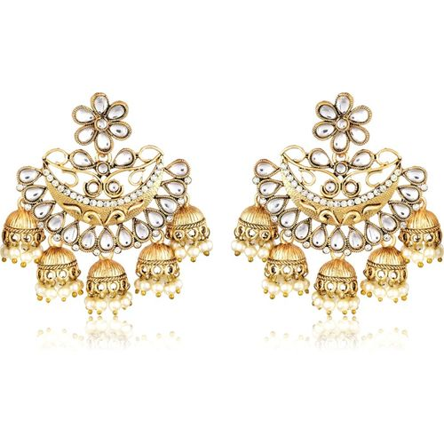 Divastri Wedding Traditional Kundan Moti Jhumka earrings for girls women gold plated Fancy Party wear stylish Pearl, Cubic Zirconia Alloy Drops & Danglers