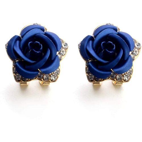 Romp Fashion Stylish Dark Blue Rose Design Gold Plated Stud Earrings For Girls And Women Alloy Earring Set