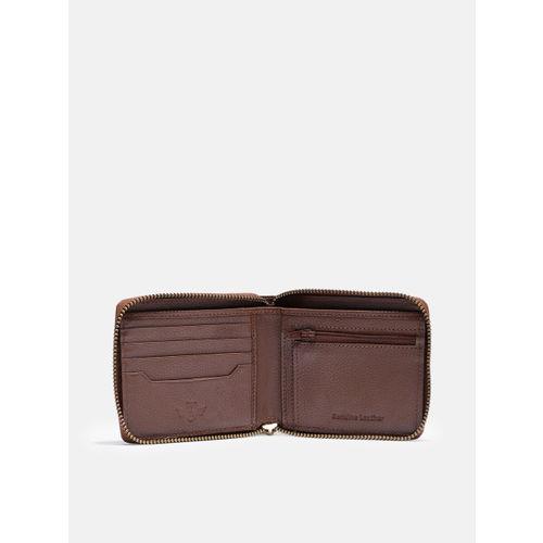 Roadster Men Brown Leather Solid Zip Around Wallet