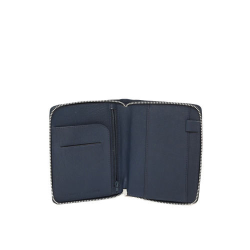 Tommy Hilfiger Men Navy Blue Solid Leather Passport Holder