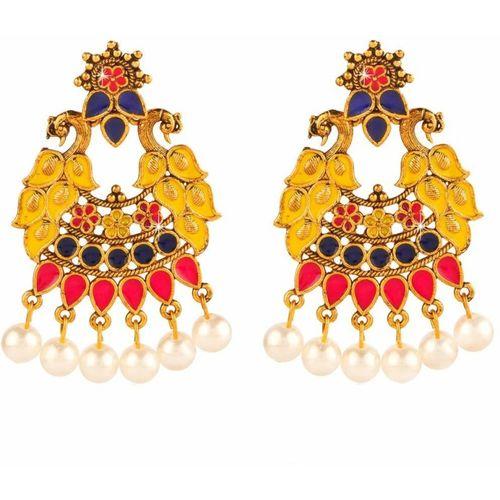 Divastri Indian Colors Peacock Meenakari Gold Plated and Pearl Chand Bali Earrings Pearl Metal Chandbali Earring