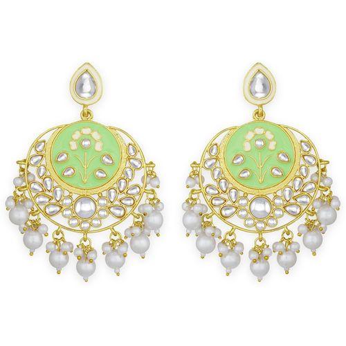 Spargz Green Meenakari Alloy Gold Plated Kundan & Pearl Chandbali Diamond, Pearl Alloy Chandbali Earring