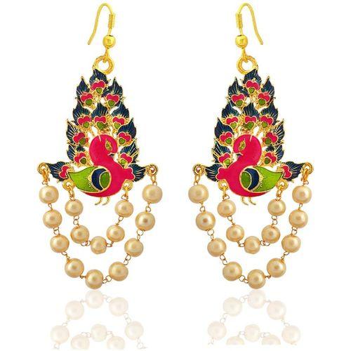 MK Jewellers Gorgeous meenakari peacock shape gold plated brass blue kundan pearl jhumki earrings for women Brass Drops & Danglers