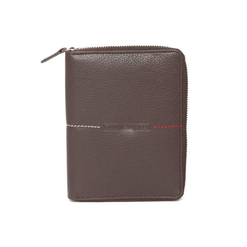 Tommy Hilfiger Men Coffee Brown Solid Leather Passport Holder