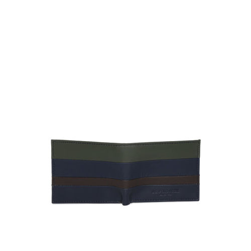 U.S. Polo Assn. Men Olive Green & Navy Blue Colourblocked Two Fold Wallet