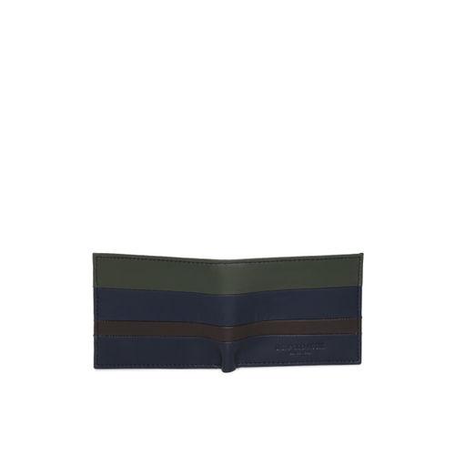 U.S. Polo Assn. Men Olive Green & Navy Blue Colourblocked Two Fold Wallet