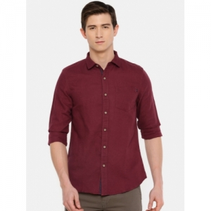 Lee Maroon Cotton Solid Slim Fit Casual Shirt