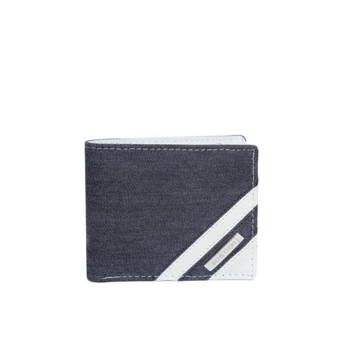 United Colors of Benetton Men Navy Blue & White Striped Detail Two Fold Wallet
