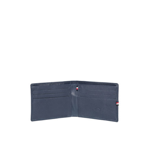 United Colors of Benetton Men Navy Blue Leather Striped Detail Two Fold Wallet