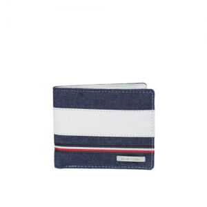 United Colors of Benetton Men Navy Blue & White Colourblocked Two Fold Wallet