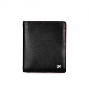 Eske Men Black & Maroon Solid Two Fold Leather Wallet