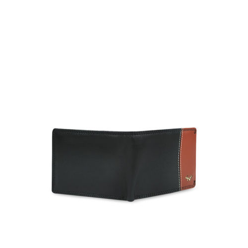 CALFNERO Men Black & Brown Textured Leather Two Fold Wallet