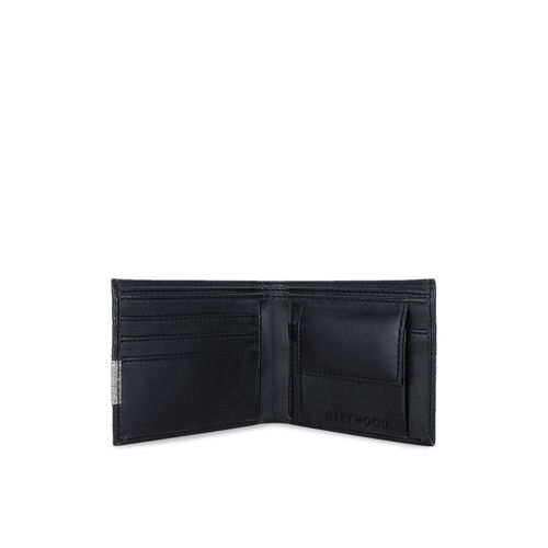 Greywood Men Black Solid Two Fold Leather Wallet