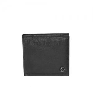 Carlton London Men Black Solid Leather Two Fold Wallet
