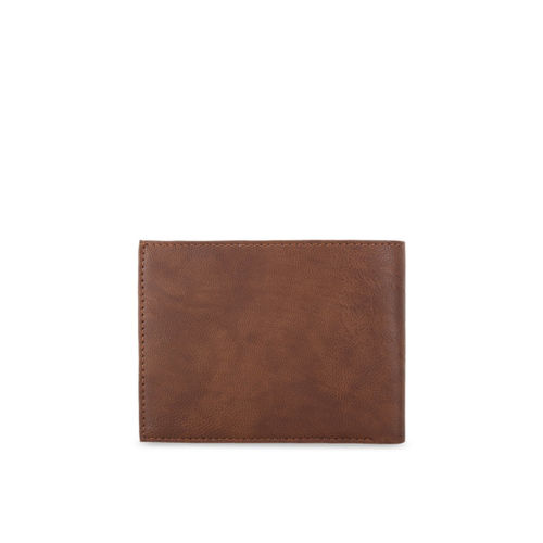 Greywood Men Brown & Black Solid Leather Two Fold Wallet