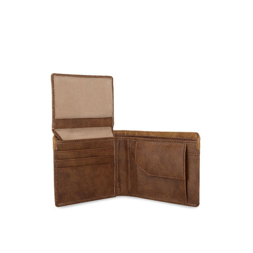 Greywood Men Brown Colourblocked Leather Two Fold Wallet