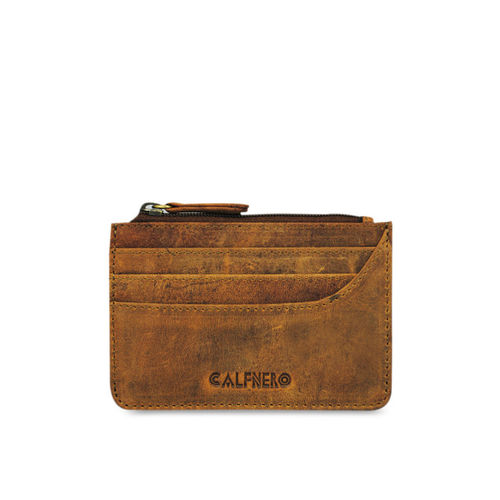 CALFNERO Unisex Brown Solid Card Holder