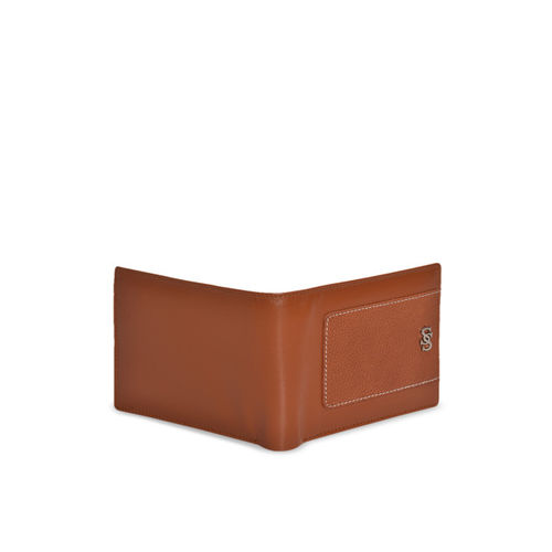 Second SKIN Men Tan Textured Genuine Leather Two Fold Wallet