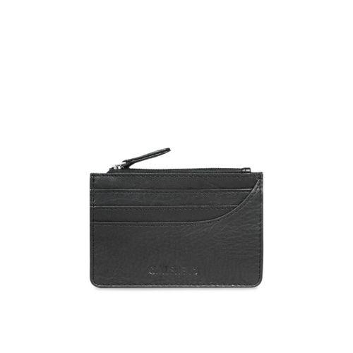 CALFNERO Unisex Black Solid Genuine Leather Card Holder