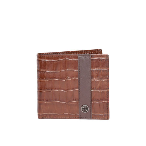 Carlton London Men Brown Croc-Textured Two Fold Leather Wallet