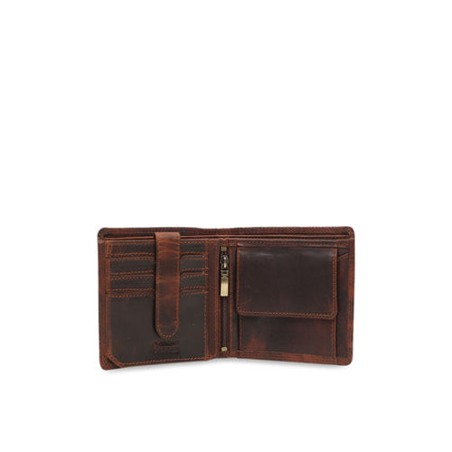 CALFNERO Men Brown Solid Two Fold Genuine Leather Wallet