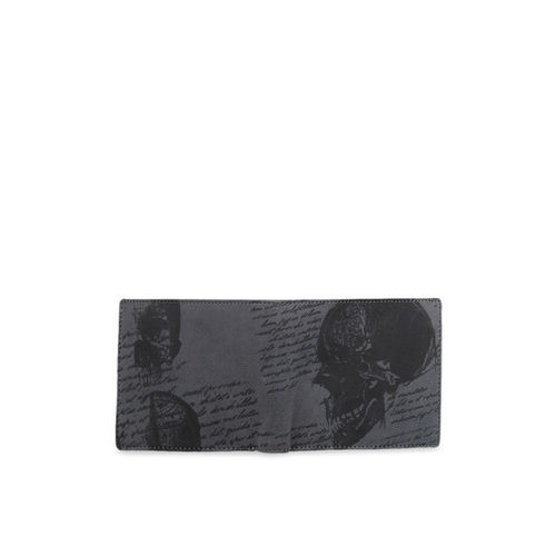 Leather Zentrum Men Olive Green Printed Leather Two Fold Wallet