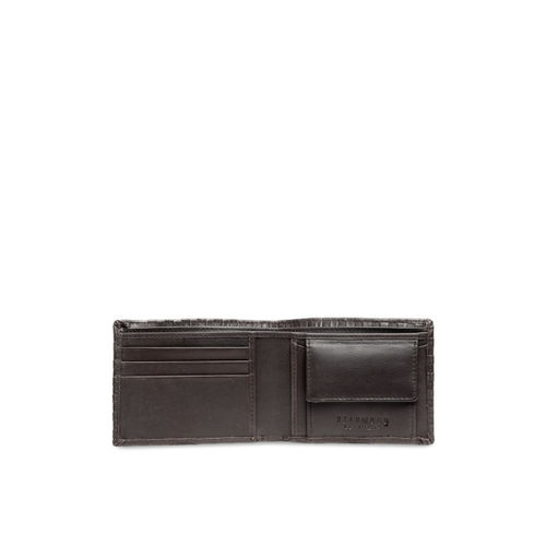 Teakwood Leathers Men Brown Textured Leather Two Fold Wallet