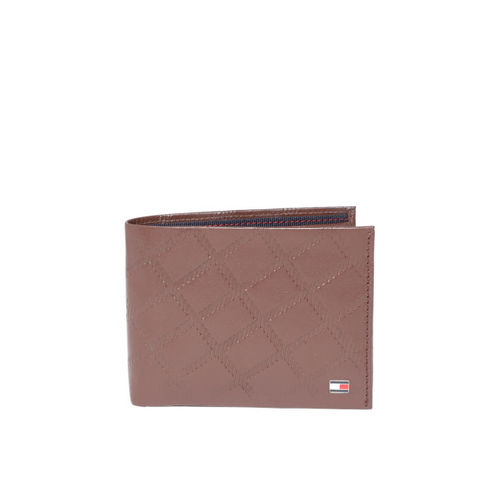 Tommy Hilfiger Men Brown Textured Leather Two Fold Wallet