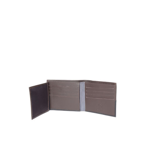 United Colors of Benetton Men Coffee Brown & Black Colourblocked Leather Two Fold Wallet