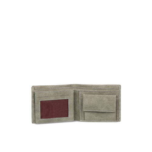 Leather Zentrum Men Green Printed Two Fold Wallet