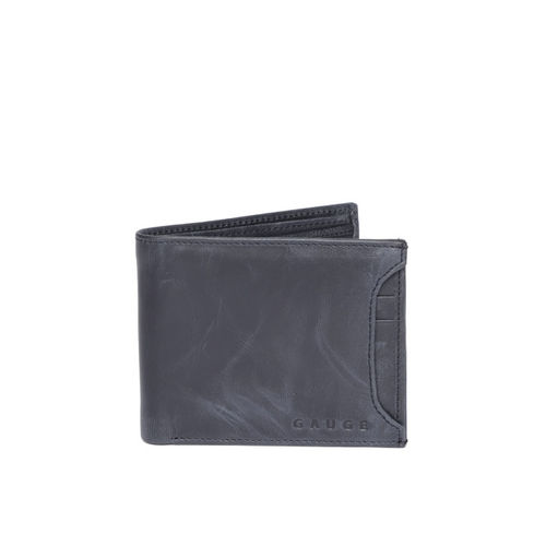 Gauge Machine Men Navy Blue Solid Two Fold Leather Wallet