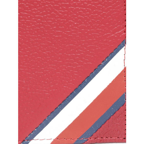 Tommy Hilfiger Men Red Solid Two Fold Leather Wallet