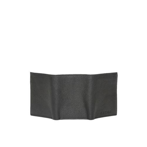 Gauge Machine Men Black Solid Leather Three Fold Wallet