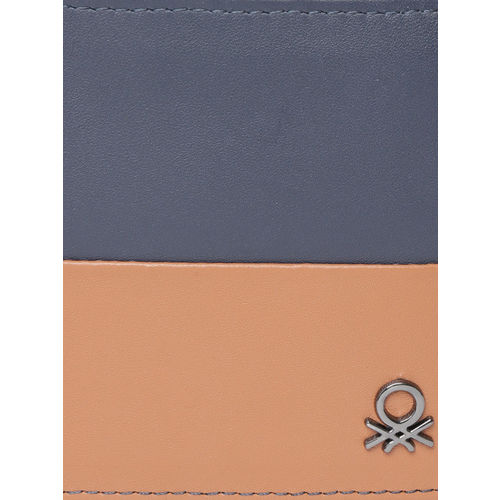 United Colors of Benetton Men Navy Blue & Brown Colourblocked Two Fold Leather Wallet