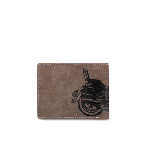 Leather Zentrum Men Brown Printed Two Fold Wallet