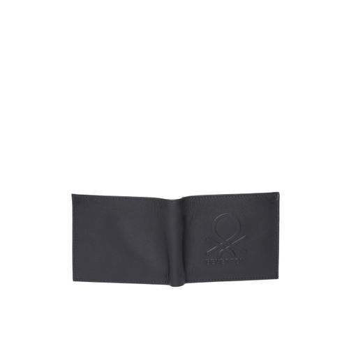 United Colors of Benetton Men Black Textured Leather Two Fold Wallet