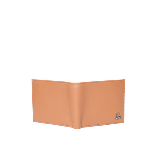 United Colors of Benetton Men Tan Brown Solid Leather Two Fold Wallet