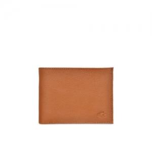 Allen Cooper Men Tan Textured Two Fold Leather Wallet