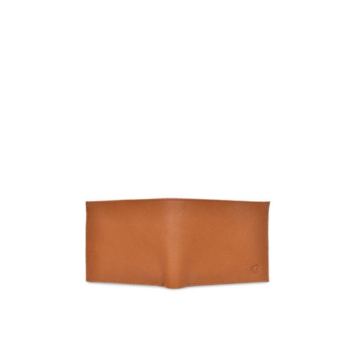 Allen Cooper Men Tan Textured Two Fold Leather Wallet