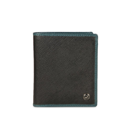 Da Milano Men Black Solid Leather Two Fold Wallet