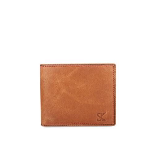 STYLER KING Men Tan Leather Solid Two Fold Wallet