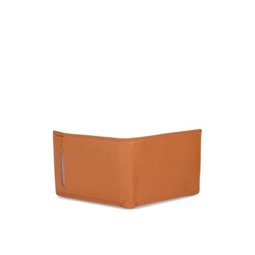 STYLER KING Men Tan Leather Solid Two Fold Wallet