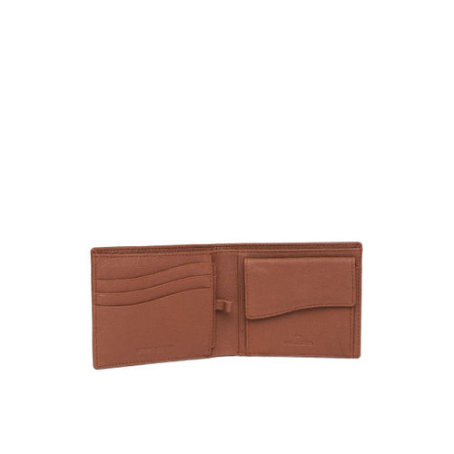 Woods Men Tan Brown Textured Two Fold Leather Wallet