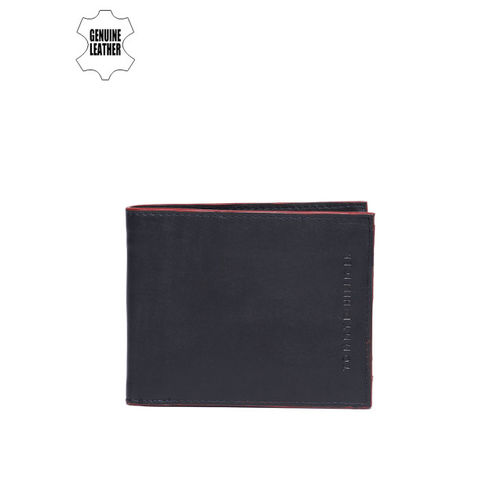 Tommy Hilfiger Men Leather Navy Blue Solid Two Fold Wallet